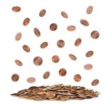 Pile of US coins on white. Pile of US coins isolated on white stock photos