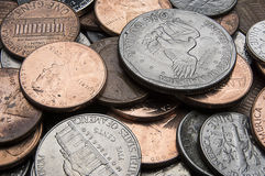 Pile of US coins up close Royalty Free Stock Images