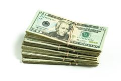 Pile of US currency twenty dollar bills stock image