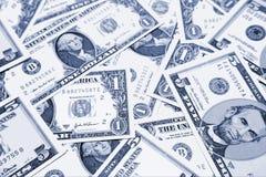 Pile of US dollar bills. A closeup view of a pile of US dollar bills in various denominations Stock Photos