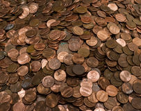 Pile of US Pennies Stock Photo