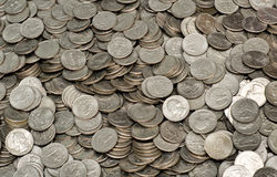 Pile of US Quarters Royalty Free Stock Images