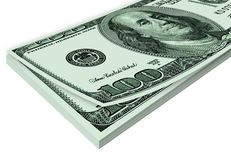 Pile of 100 USA dollars Stock Image