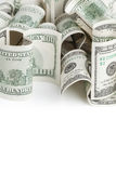 Pile of USD United States dollars on white Royalty Free Stock Images