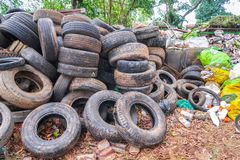 Pile used tires for recycling. Pile used car tires for recycling stock images