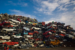 Pile of used cars royalty free stock image