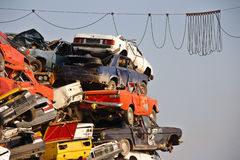 Pile of used cars. In junkyard, ready for salvage Royalty Free Stock Photography