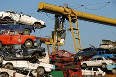 Pile of used cars. In junkyard, ready for salvage Royalty Free Stock Photo
