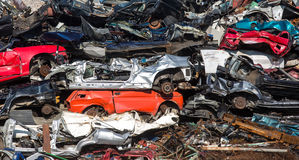 Pile of used cars, car scrap yard Royalty Free Stock Photography