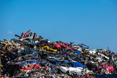 Pile of used cars, car scrap yard Royalty Free Stock Image