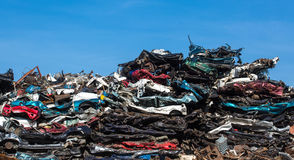 Pile of used cars, car scrap yard Stock Photos