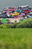 Pile of used cars in junkyard. Ready for salvage Stock Images