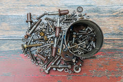 Pile of used construction parts like nails, screws and nuts Royalty Free Stock Images