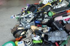 Pile of used Electronic and Housewares Waste Division broken or damage Stock Image