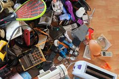 Pile of used Electronic and Housewares Waste Division broken or damage Stock Images