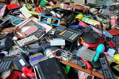 Pile of used Electronic and Housewares Waste Division broken or damage Stock Photo