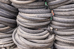 Pile of used mountain bike tires Stock Images
