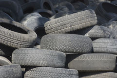 Pile of used old rubber tire One Royalty Free Stock Photo