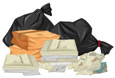 Pile of used papers and bags. Illustration royalty free illustration