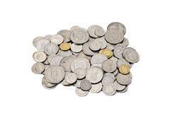 Pile of Used Swiss Franc and Rappen Coins. A pile of dirty, used, modern Swiss Francs (CHF) coins with copy space. All current Swiss coin denominations are Royalty Free Stock Image