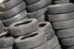 Pile of used tires Stock Photos