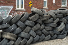 Pile of used tires detail Royalty Free Stock Photos