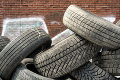 Pile of used tires detail Stock Photo