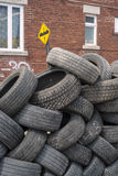 Pile of used tires detail vertical Stock Images