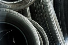 Pile of Used Tires Royalty Free Stock Images