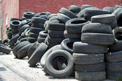 Pile of used tires Stock Photo