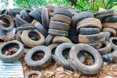 Pile used tires for recycling. Pile used car tires for recycling stock photo