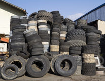 Pile of used tires Royalty Free Stock Image
