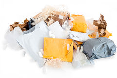 Pile of used and tore postal packages. Symbolizes a waste pollution problem royalty free stock images