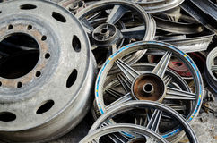 Pile of used wheels Stock Images