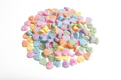 Pile of valentine candy. A pile of colorful valentine candy royalty free stock photography