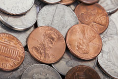 USA Coins Pile Background Royalty Free Stock Image