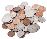 Isolated US Coins Pile Stock Photo