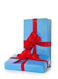 Pile of various blue wrapped presents Royalty Free Stock Image