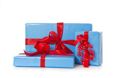 Pile of various blue wrapped presents Royalty Free Stock Photos