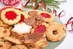 Pile of various christmas  cookies Royalty Free Stock Photos