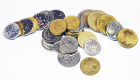 A pile of various coins Royalty Free Stock Photo