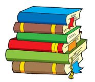 Pile of various color books Royalty Free Stock Images
