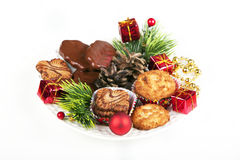 Pile of various  cookies and christmas decorations Stock Photo