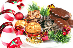 Pile of various  cookies and christmas decorations Royalty Free Stock Photo