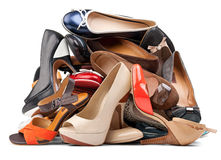 Pile of various female shoes, with clipping path Royalty Free Stock Image