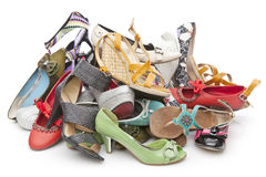 Pile of various female shoes Royalty Free Stock Image
