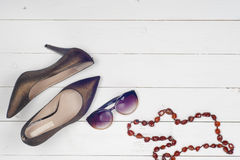 Pile of various female shoes Royalty Free Stock Images