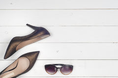 Pile of various female shoes Royalty Free Stock Photos