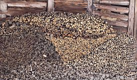 Pile of various firewood. Against old, damaged wooden wall stock image