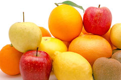 Pile of various fruits isolated on a white backgro Royalty Free Stock Images